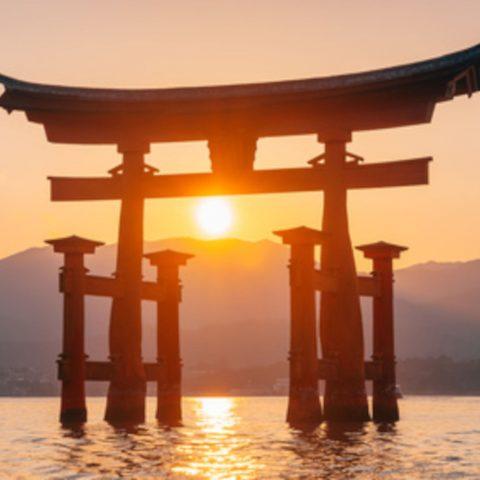 Torii au coucher du soleil japon Oasis
