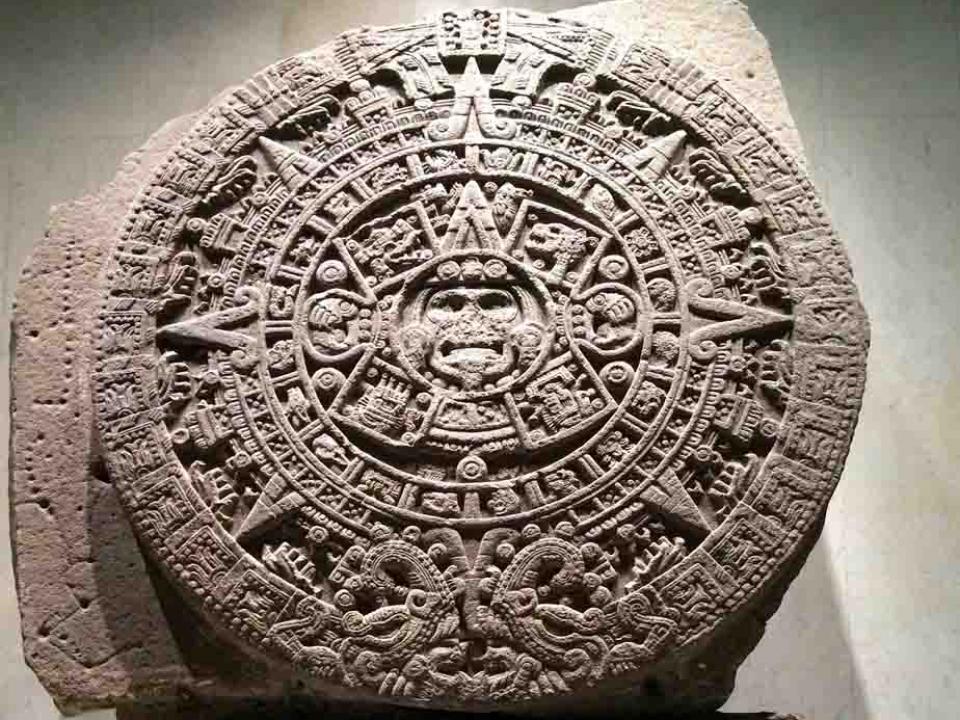 Stèle du calendrier maya exposé au musée d'anthropologie de Mexico, Mexique, Oasis
