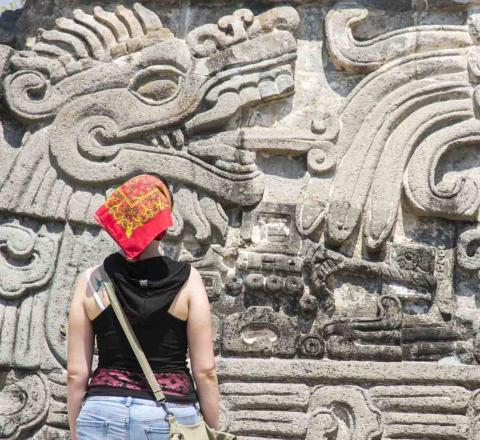 Sculptures Quetzalcoatl, Mexique, Oasis