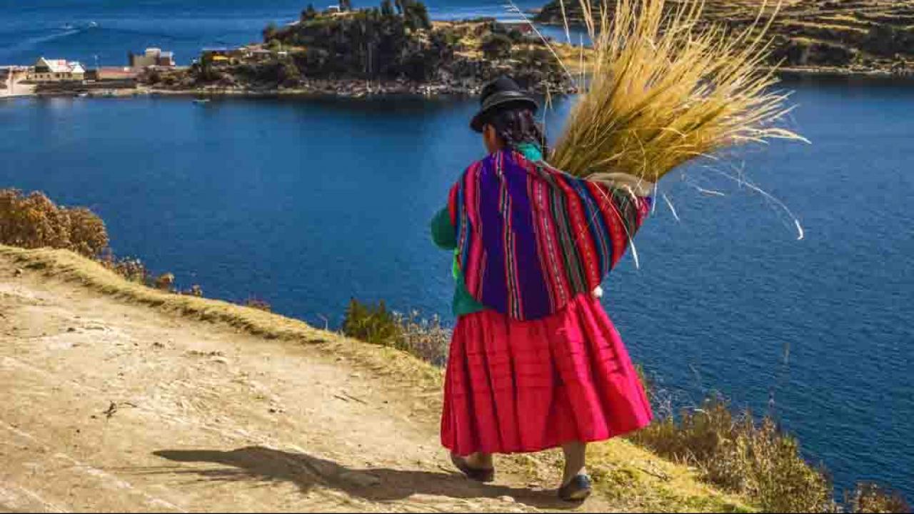 Paysanne au Lac Titicaca, Pérou, Oasis