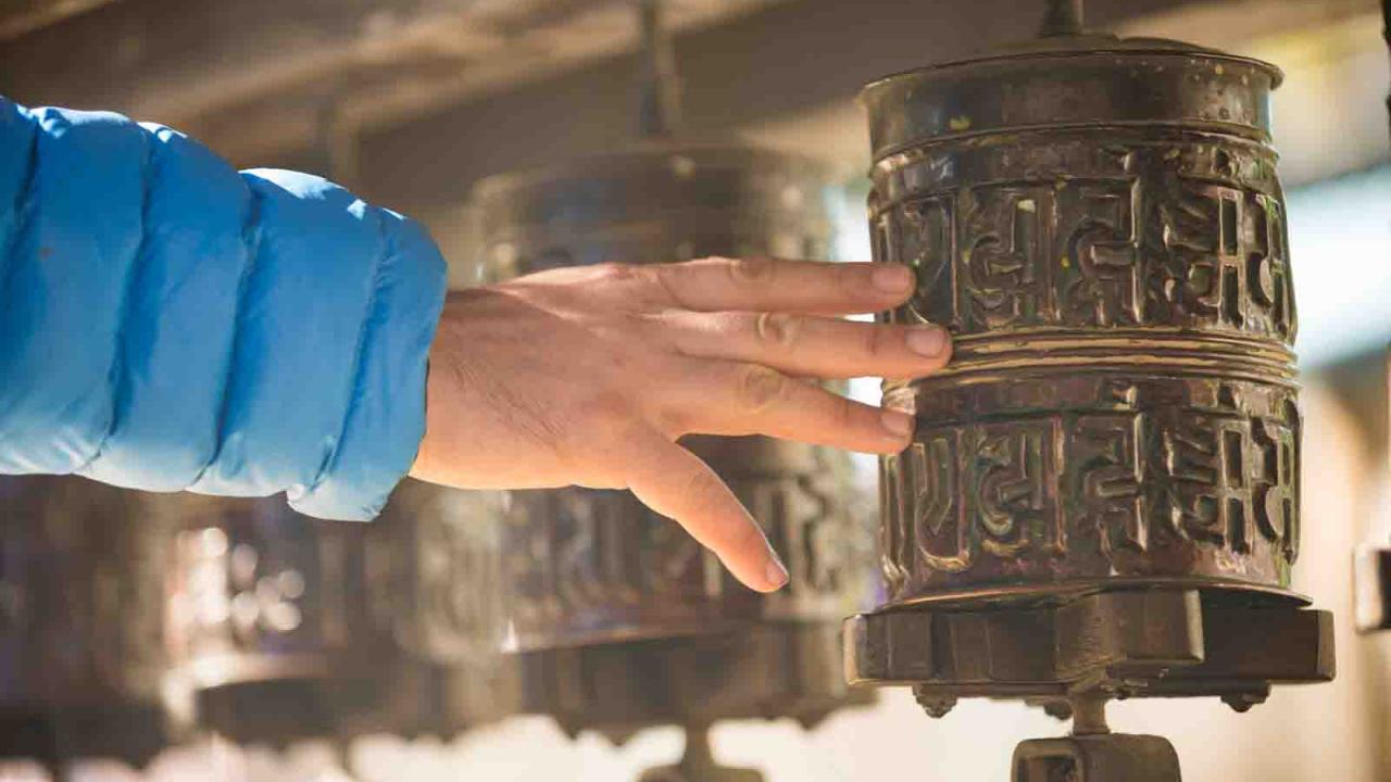 Moulins à prières bouddhistes, Himalayas, Oasis