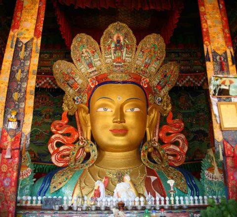 Bouddha Maitreya de Thiksey, Inde Ladakh, Oasis