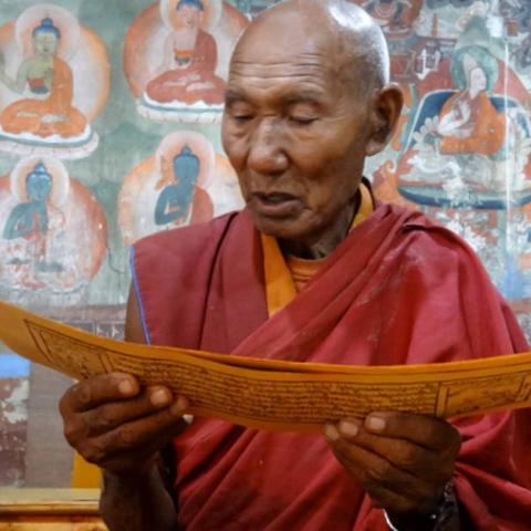 Lama qui lit les textes sanskrits, Inde Ladakh, Oasis